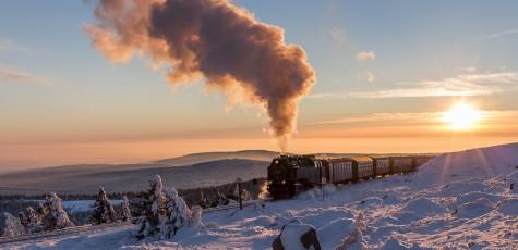 Harzer Schmalspurbahn Sonnenuntergang